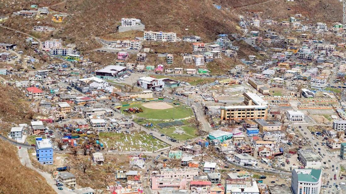 Aerial view of the destruction in the British Virgin Islands in the wake of Hurricane Irma © CNN