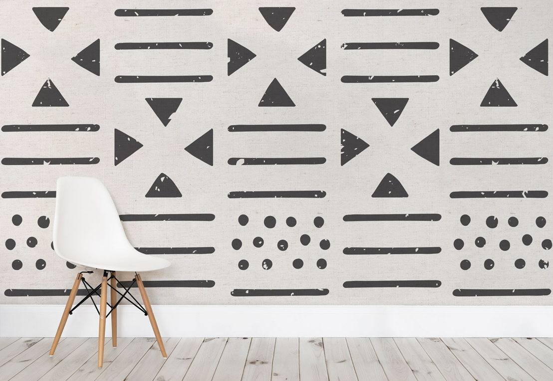Large Tribal Canvas Pattern Wall Mural