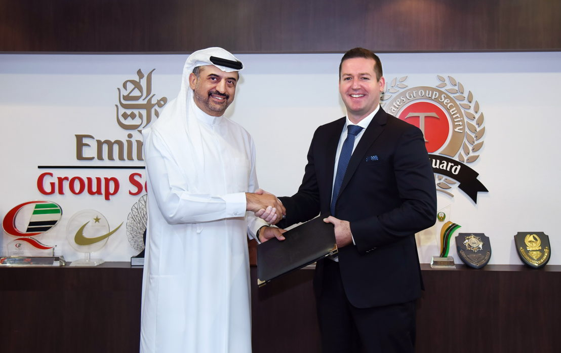 Dr Abdullah Al Hashimi, Divisional Senior Vice President, Emirates Group Security (left)  and Matthew Vaughan, Director of Aviation Security, IATA (right)  signed an agreement for collaboration in aviation security training.