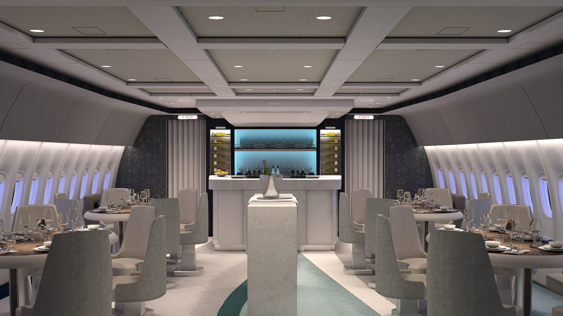 Crystal AirCruises Boeing 777 Lounge and Bar