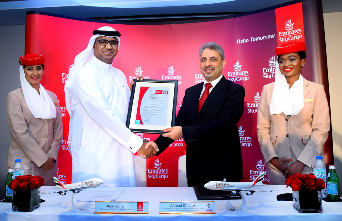 Mr Nabil Sultan, Divisional Senior Vice President, Cargo receiving GDP certificate from Mr Ahmad Chaouk, Vice President, Sales and Marketing, Bureau Veritas