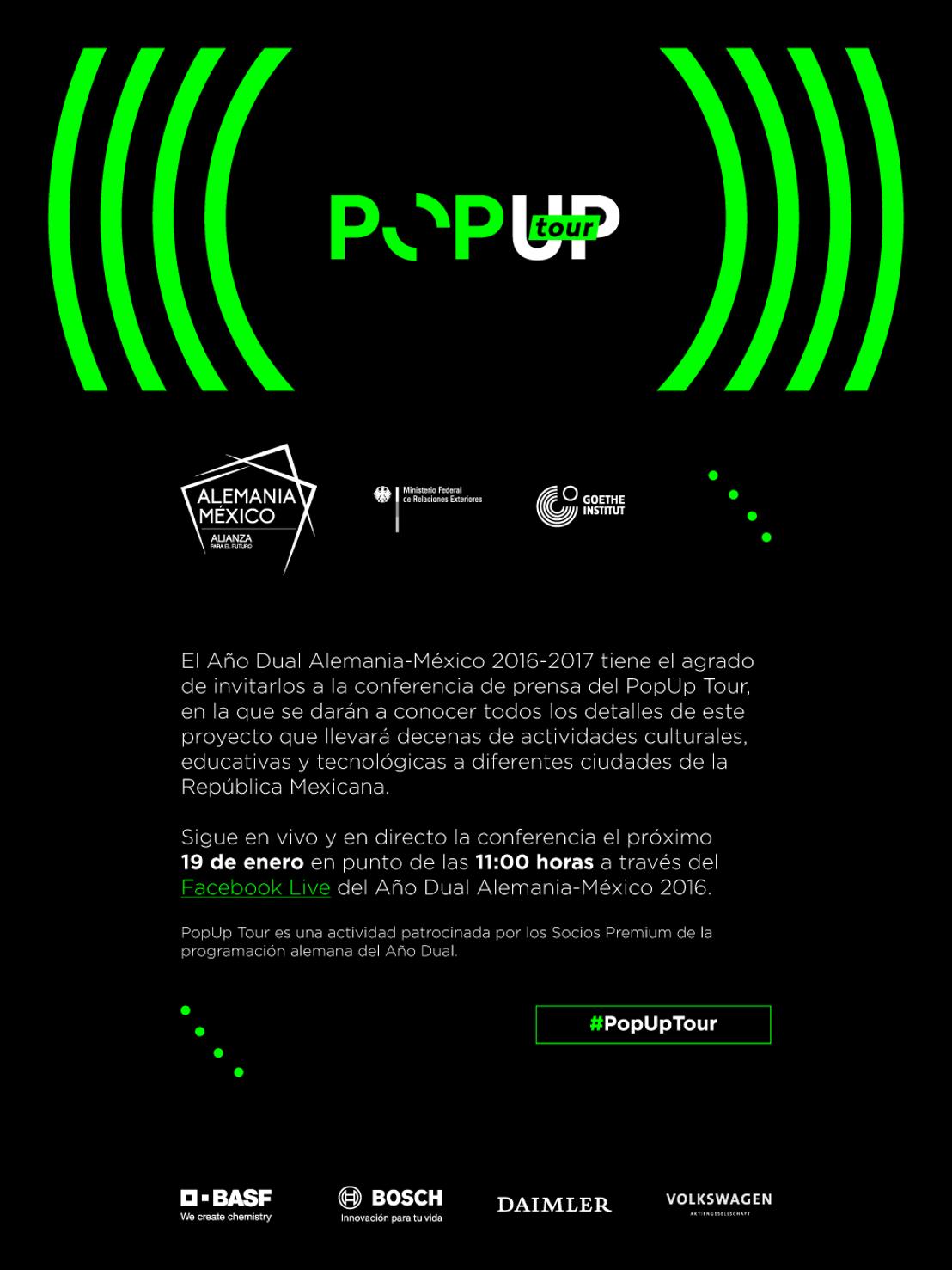 Invitación Facebook Live Conferencia de Prensa PopUp Tour