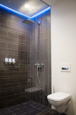 Showers with LED lighting and mood music