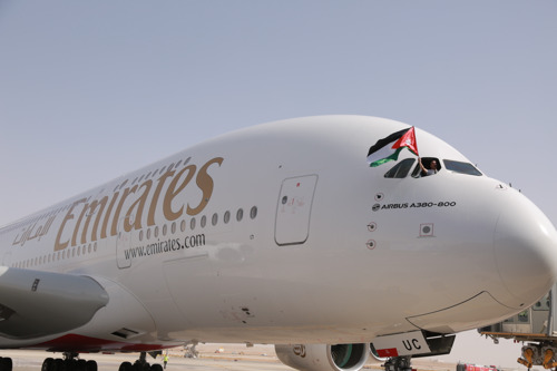 Emirates A380 Touches Down In Amman