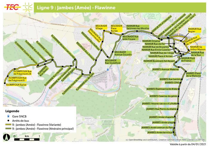 Modifications réseau en province de Namur