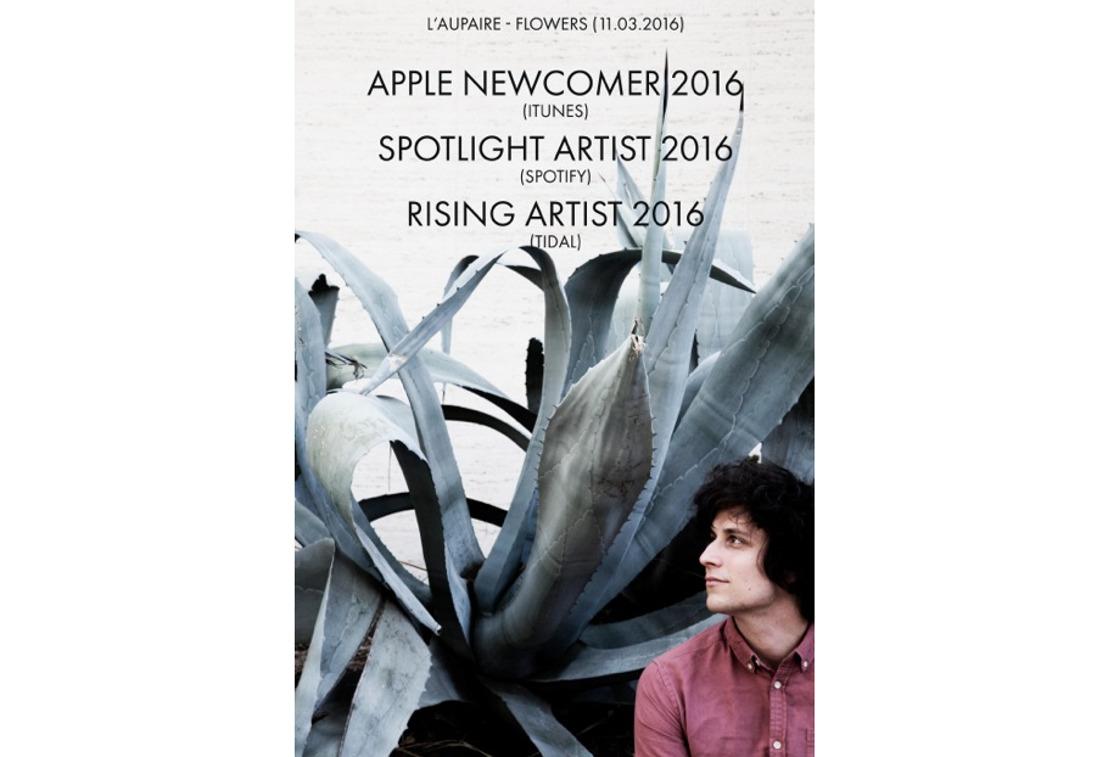 L'aupaire ist für iTunes, Spotify & Tidal DER Newcomer 2016