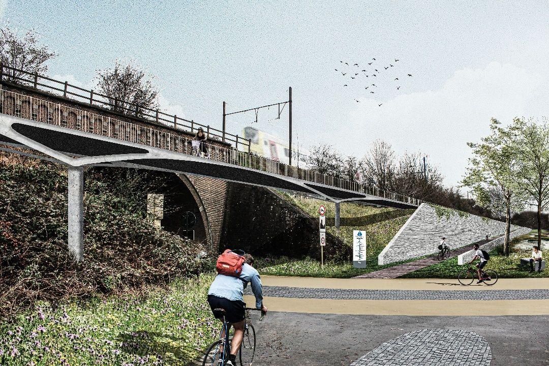 Toekomstbeeld: Simulatie kruising FR0 Witloofstraat met fietsbrug en toegangshelling © BUUR