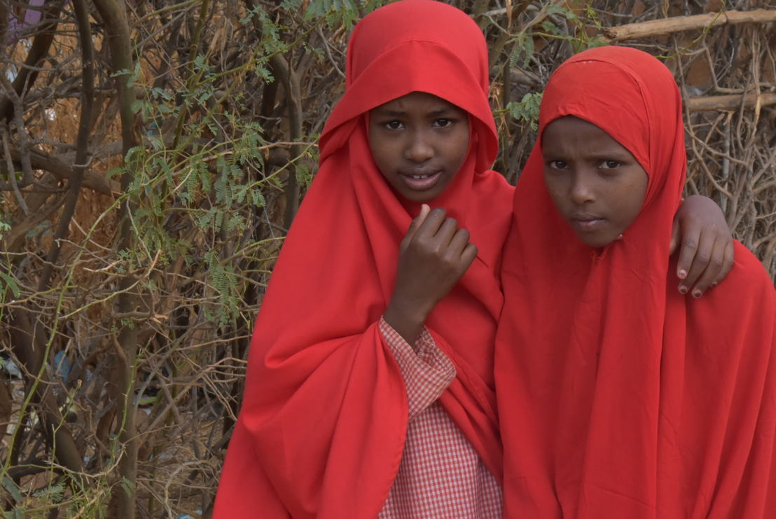 Asho and Halimo are two pupils at El nino primary school. They were both born in Dagahaley refugee camp, one of the five camps at Dadaab refugee complex. Photographer:  Abdullahi Mire