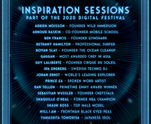 Tomorrowland welcomes a slate of internationally renowned thought leaders from different fields that will be hosting 15 Inspiration Sessions during its digital festival Tomorrowland Around the World