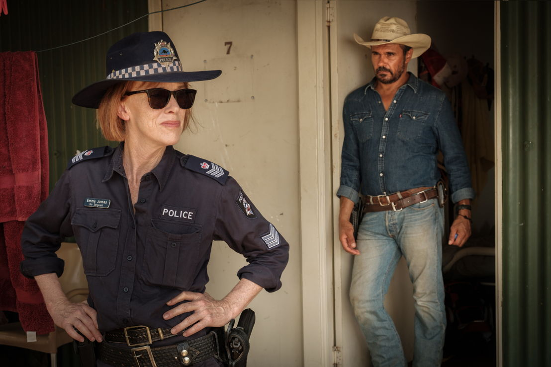 Judy Davis is Sergeant Emma James and Aaron Pedersen is Detective Jay Swan in ABC's Mystery Road, a six part drama airing on ABC from Sunday 3 June