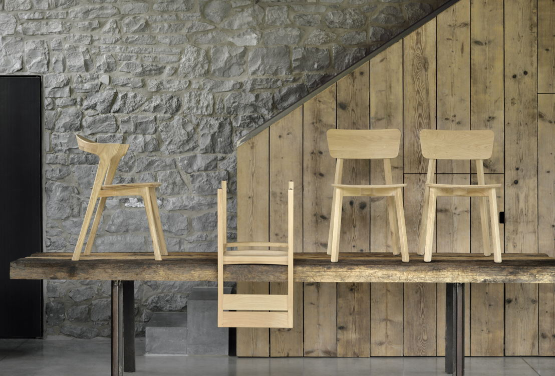 Ethnicraft Oak Bok dining chair and Oak Casale dining chair