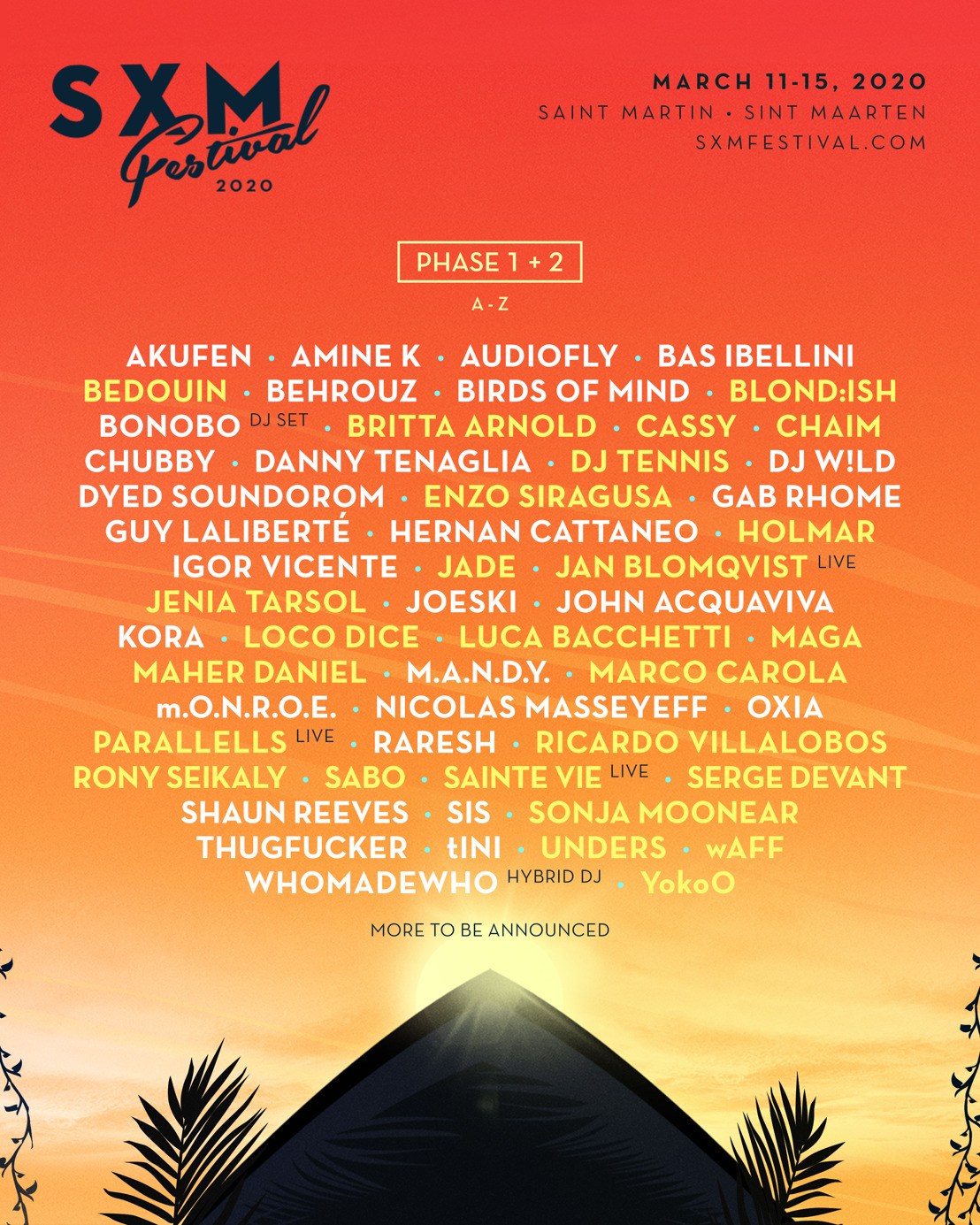 SXM Festival Announces Phase Two Lineup for March 11-15 Event on Caribbean Island of Saint Martin/Sint Maarten
