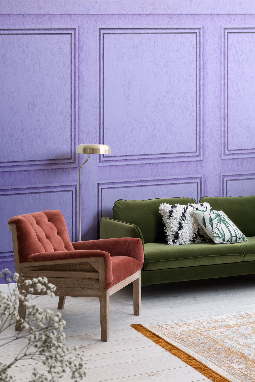 Apartment living space with the purple