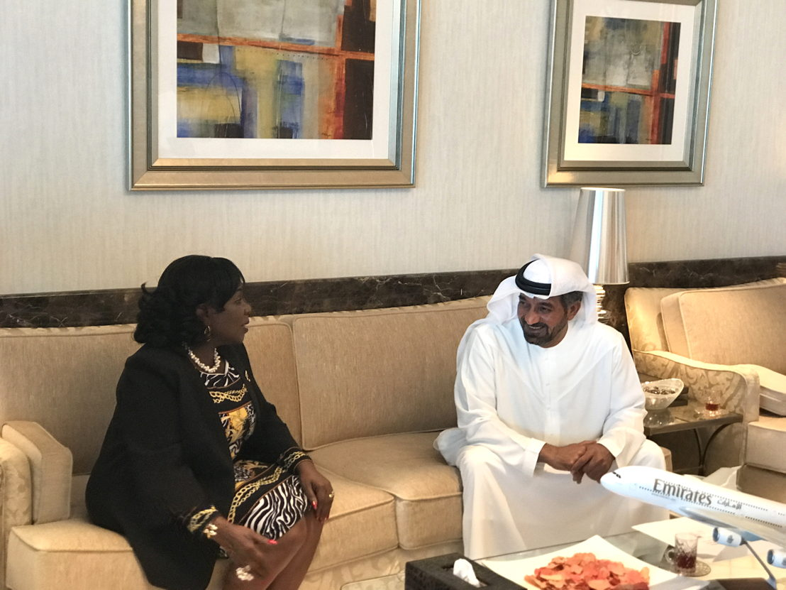 His Highness Sheikh Ahmed bin Saeed Al Maktoum, Chairman and Chief Executive, Emirates Airline and Group hosted a meeting with Ghanaian Minister Hon. Cecilia Abena Dapaah, Minister for Aviation, Ghana at his offices in Dubai, U.A.E.