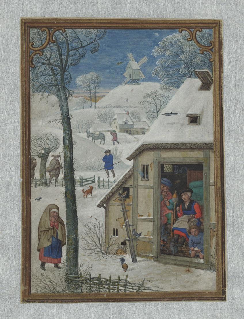 Januari, Simon Bening, in het Hennessy-getijdenboek, Brugge, ca. 1530, Koninklijke Bibliotheek van België, Handschriftenkabinet, II 158, fol.1v.