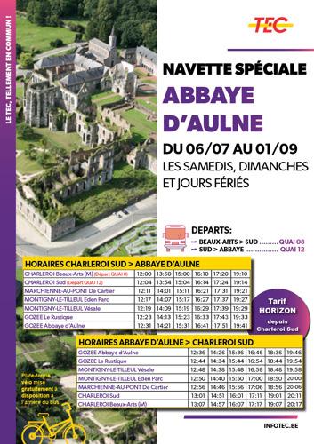 Rendez-vous à l'Abbaye d'Aulne dès le 6 juillet grâce à la navette estivale du TEC