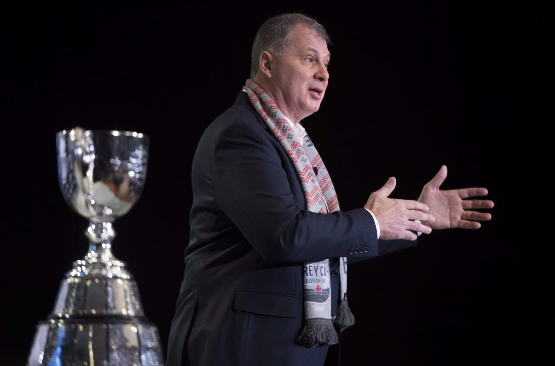 Commissioner Randy Ambrosie at the 2018 State of the League media address. Photo credit: THE CANADIAN PRESS/Jonathan Hayward