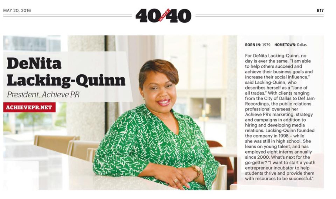 "Achieve PR President/CEO DeNita Lacking-Quinn named Dallas Business Journal's ""40 Under 40"""