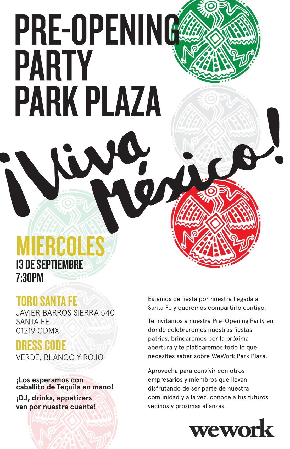Te esperamos para festejar la fiesta de pre opening de WeWork Park Plaza