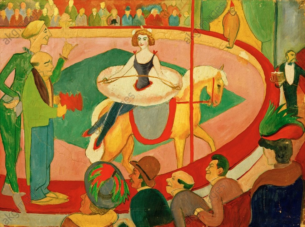 """August Macke, """"Circusbild I: Kunstreiterin"""" (Circus I: Circus Rider), 1911.<br/>Oil on paper on canavs,<br/>47 × 63cm. Münster, Westfälisches Landesmuseum.<br/>AKG352442"""