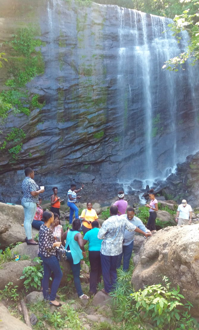 Community group on site visit to Mt. Carmel Waterfall, Grenada