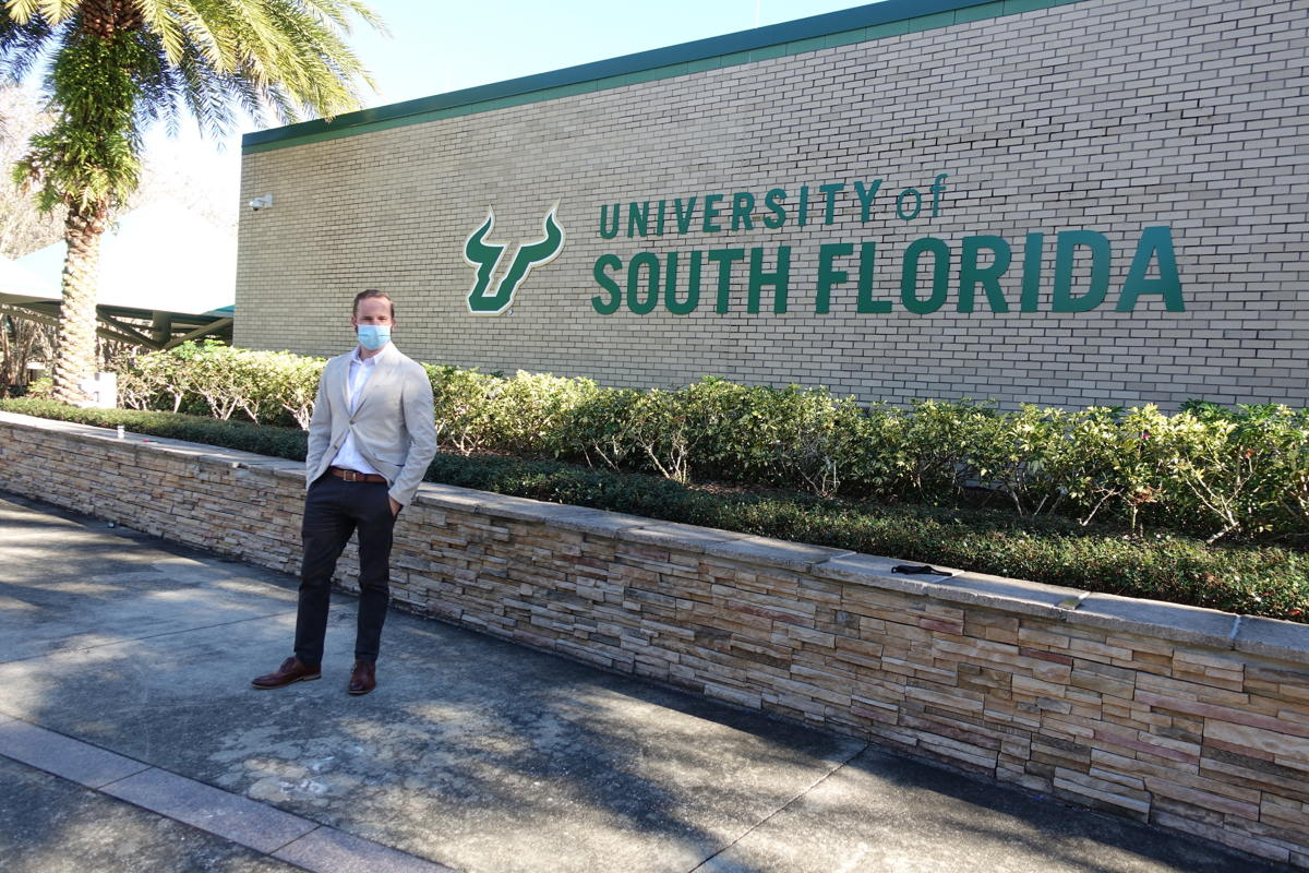 University of South Florida (USF) is a preeminent state research university that recently installed Sennheiser's TeamConnect Ceiling 2 in 96 of its classrooms. Pictured is Michael Kraus, Audio Vision Engineering & Systems, USF IT (Photo courtesy USF).