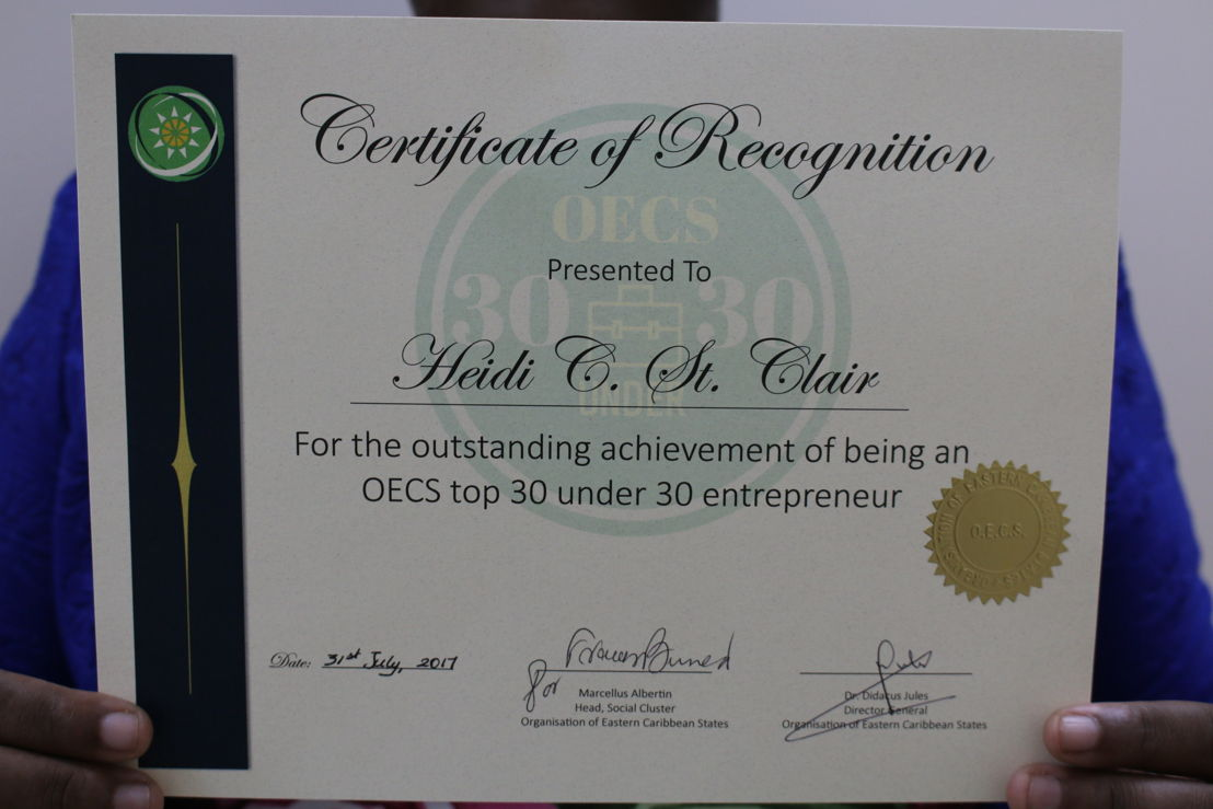 30 Under 30 Certificate of Recognition.