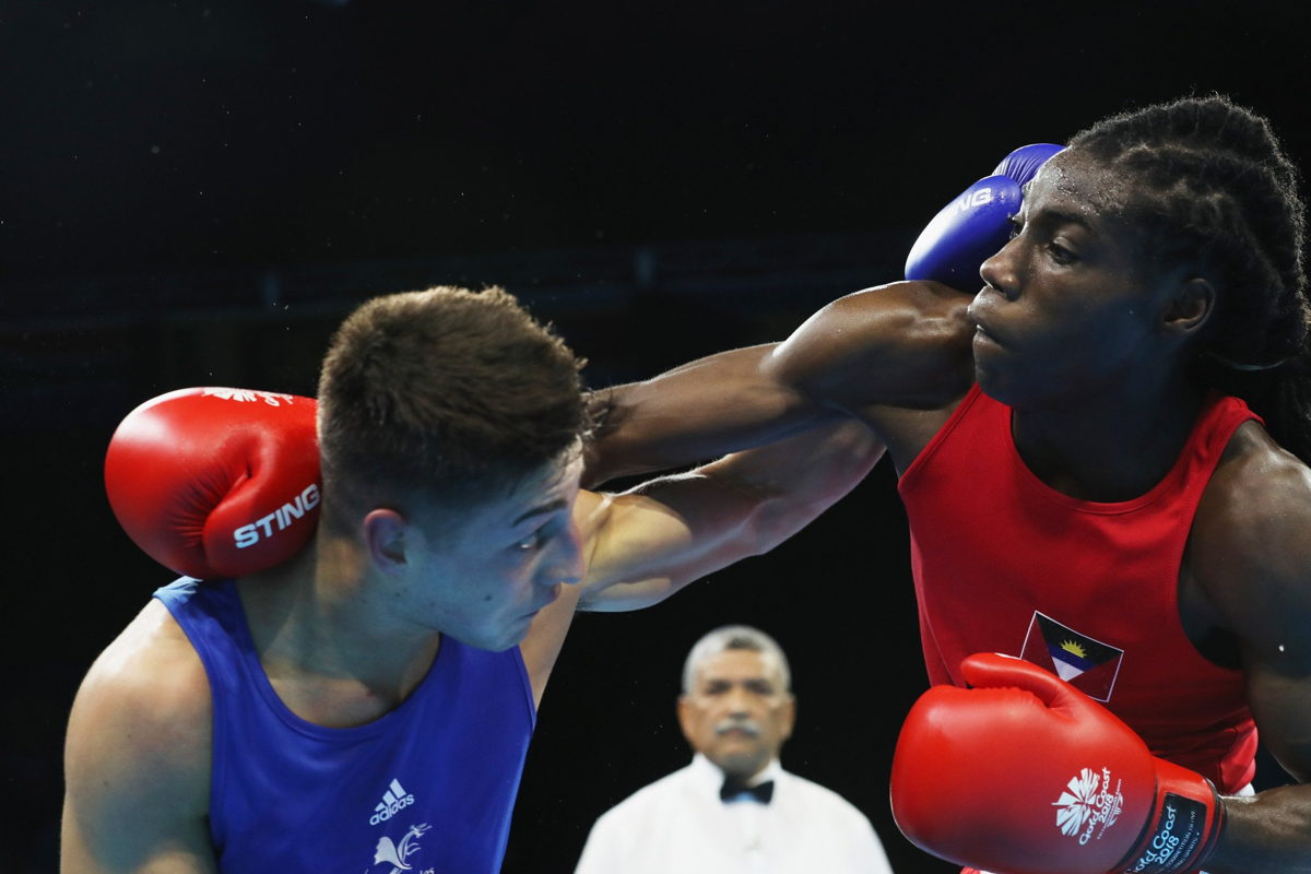 Ryan Alston of Antigua & Barbuda competes against William Edwards of Wales. Picture by Getty Images.