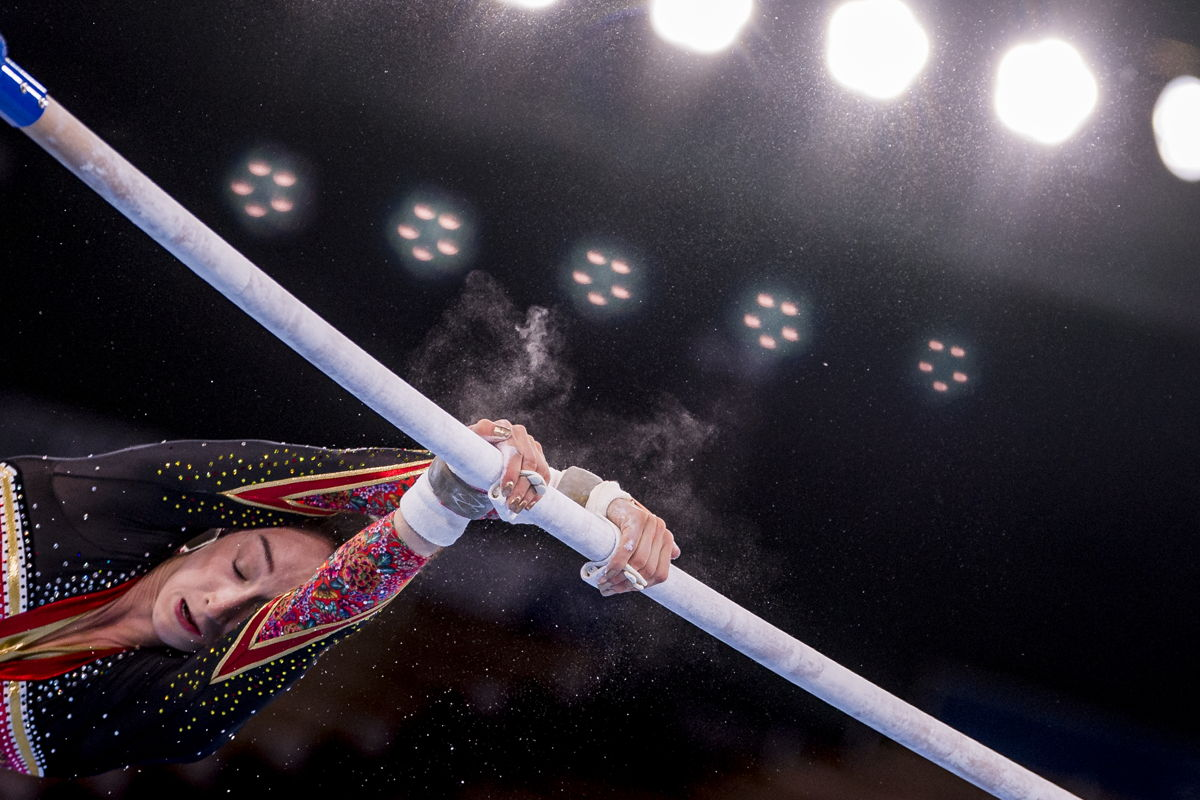 Belgian Olympic champion Nina Derwael pictured in action during the individual uneven bars final event in the artistic gymnastics competition, on the tenth day of the
