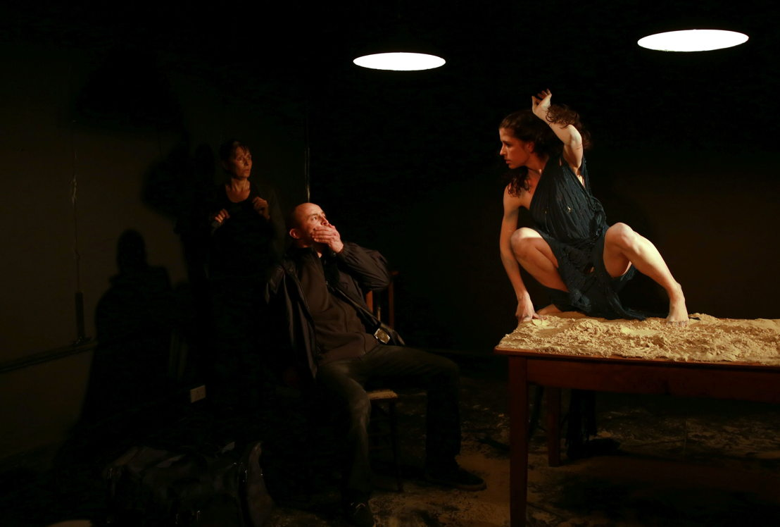 Margot Wood, Andrew Laubscher and Emma Kotze in The Edge of the Light. Image by Nardus Engelbrecht