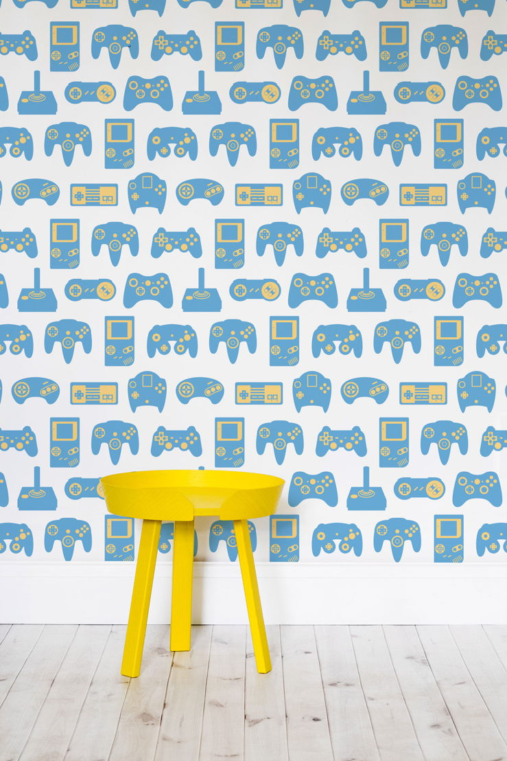 Blue and White Retro Game Wall Mural