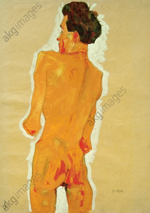 """""""Back view of a standing nude""""<br/>(Self portrait), 1910.<br/>AKG471110"""
