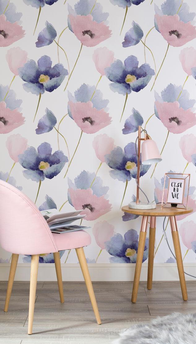 Rose Quartz and Serenity Poppy Wallpaper Mural