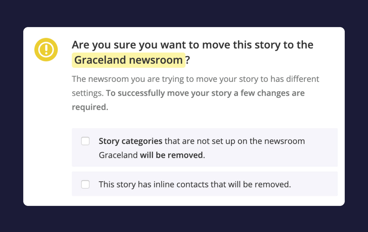 Help: Moving a Story from one Newsroom to another