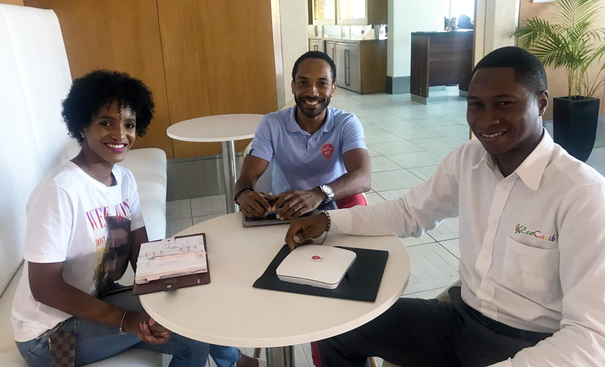 [L-R] Co-founder and Chief Operating Officer of Eco Carib Zaina Pamphile; Founder of airZoon Steve Bercy; and Co-founder and Chief Executive Officer of Eco Carib Denell Florius.