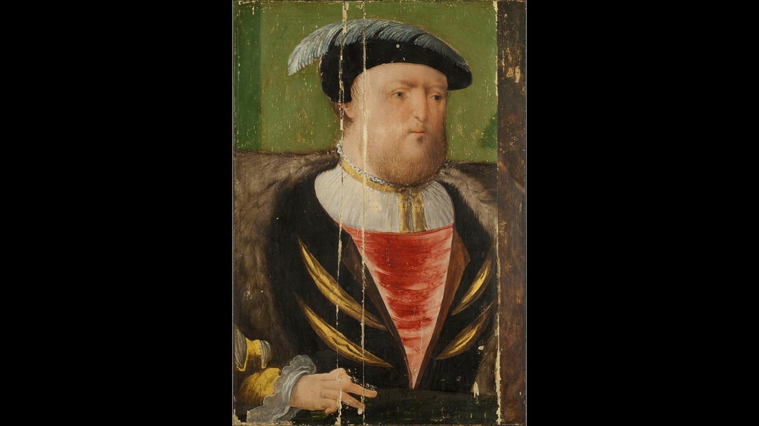 After Cleaning: AGNSW collection<br/>Anglo-Netherlandish workshop active in London 1530s–40s<br/>King Henry VIII (1491–1547) c1535–40<br/>oil on oak panel<br/>Purchased 1961<br/>OB4.1962