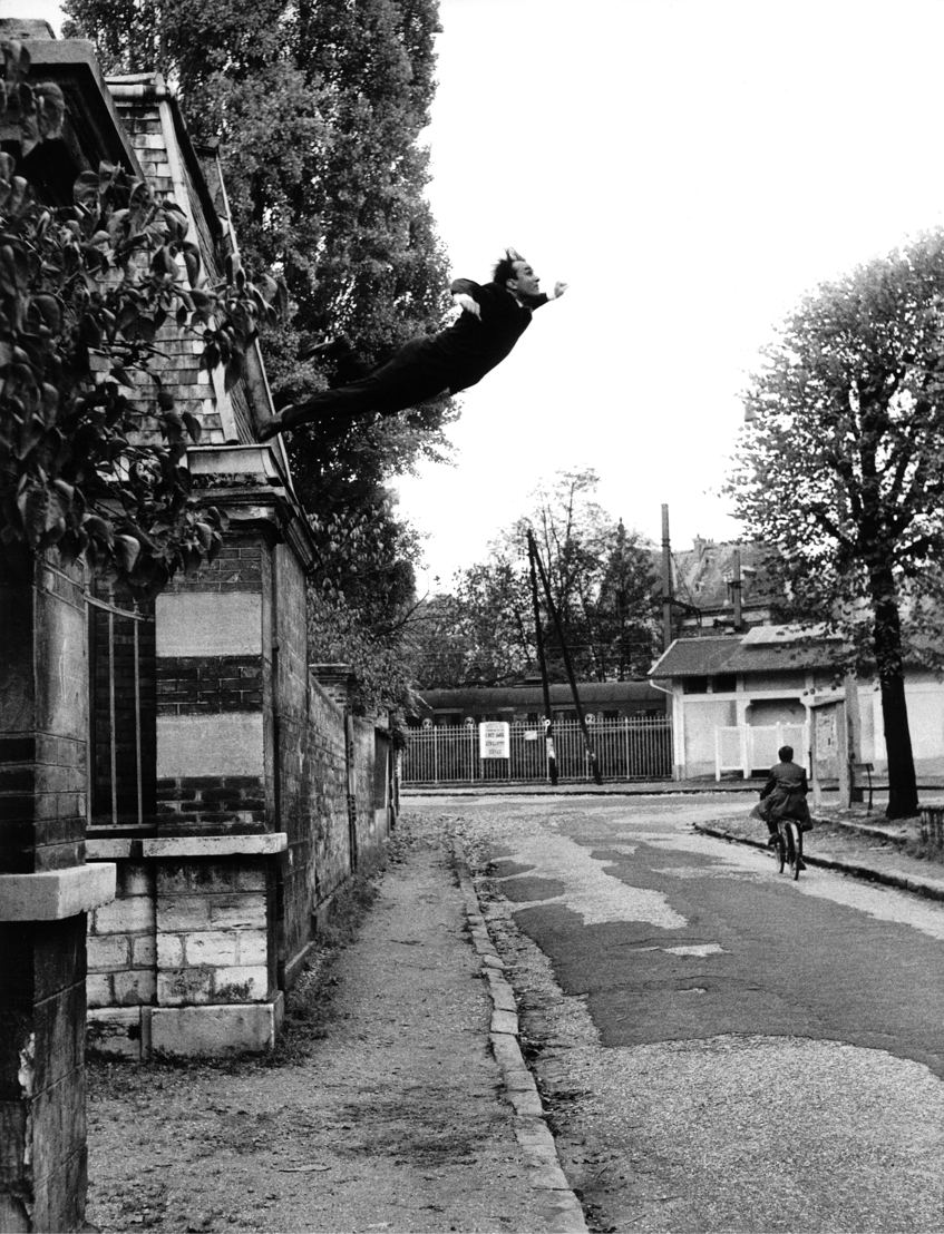 "Yves Klein - Theatre of the Void - 24/03>20/08 © Harry Shunk and János Kender, Yves Klein's ""Leap Into the Void,"" Fontenay-aux Roses, France, 1960 October 23"