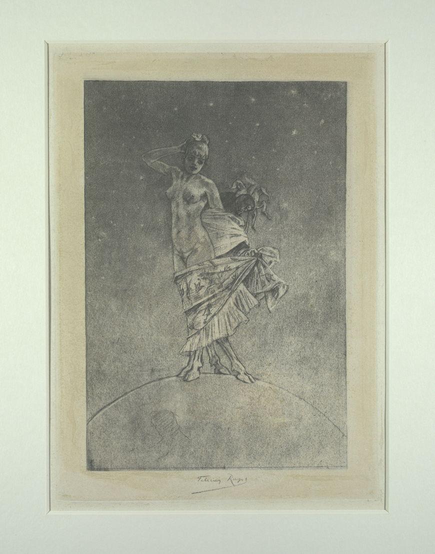 """""""Prostitutie en waanzin heersen over de Wereld"""" van Félicien Rops<br/>Deze prent en zijn koperplaat maken deel uit van een collectie die de dochter van Félicien Rops naliet aan de Koninklijke Bibliotheek. De prent werd gemaakt als illustratie voor """"Les Diaboliques"""", de bundel met schandaalnovelles van Jules Barbey d'Aurevilly (1808-1889). Ze is geïnspireerd op een eerste tekening van Félicien Rops waarvan hij de thema's omkeerde. We zien er hoe Prostitutie en Waanzin over de wereld heersen. De bokkenpoten benadrukken het beeld van een dierlijke drift die de wezens bezielt en doet afdwalen van het rechte pad, ver van elke moraal.<br/>Bekijk het werk in detail op http://uurl.kbr.be/1429403"""