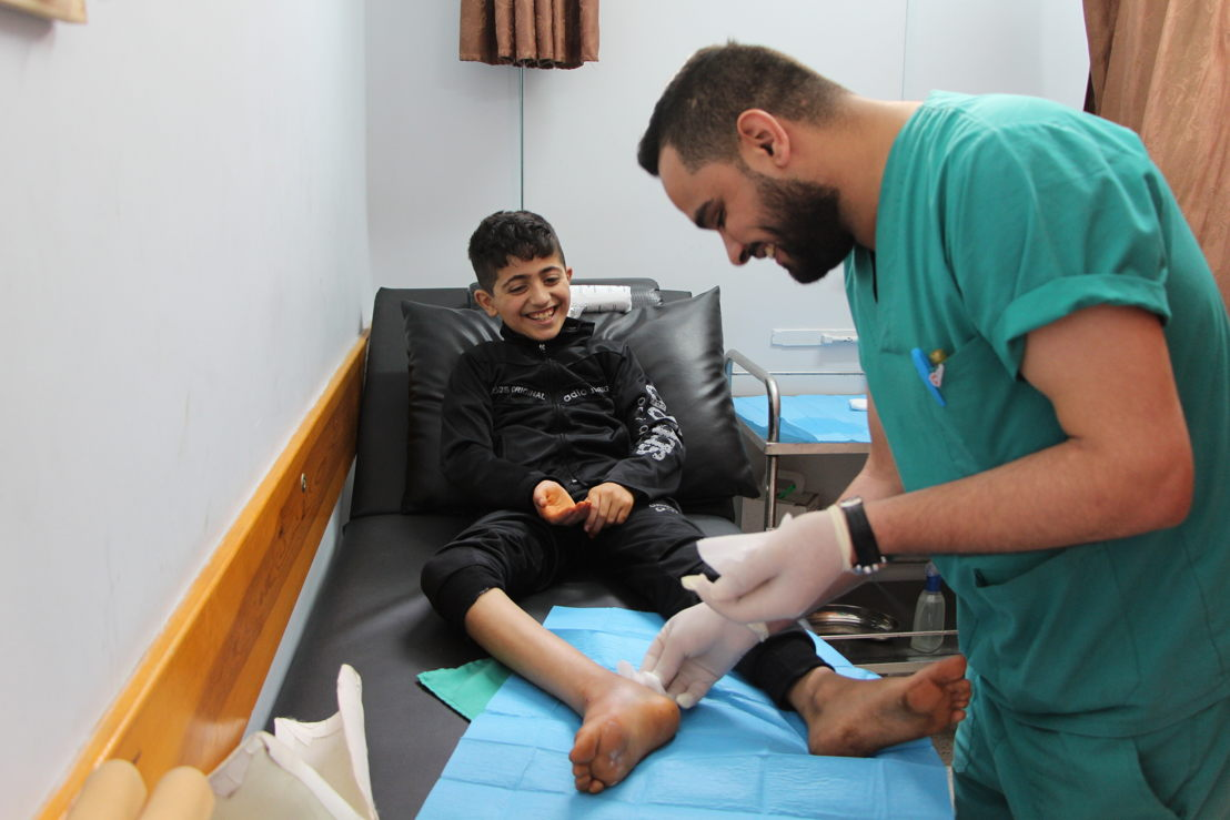 Yahya Yaseen is 11 years old. He was shot in the leg during the March of Return. He was met in Beit Lahia clinic where he is treated by the teams on 17th of april 2018. &quot;My name is Yahya, I'm 11 years old and I'm in 5th grade. Before I got hurt I really enjoyed going to school and never had grades below 95/100!<br/><br/>I went to the &quot;Great March of Return&quot; with two of my brothers, to discover the land of my parents, and to see with my own eyes the people who bomb Gaza and shoot Gazans. I wanted to understand why. You know, the only thing that makes Israelis stronger than us is their weapons.<br/><br/>I was very close to the fence when I got shot. I was the only child of my age to be so close. I wanted to get closer to see the landscape on the other side. It was very beautiful, much more beautiful than Gaza! But then I got shot. I remember the face of the person who shot; she was a young blond woman.<br/><br/>I received a bullet at the junction between the foot and the leg. Everything was hurt: the muscles, the tendons, and the bone. I can only move my toes now, and just a little bit. When I was shot, it hurt me a lot, like an electric shock. But now, I feel a little better. I first got surgery at the hospital and I should have another operation. In the meantime, I come three times a week to the MSF clinic in Beit Lahia and I have been told that I should be able to walk again in six months.<br/><br/>I do not think I&#039;m too young to get injured. I can bear the pain and the sorrow, like all the other people in Gaza who have been wounded by gunshot.&quot; <br/>Photographer: Laurie Bonnaud