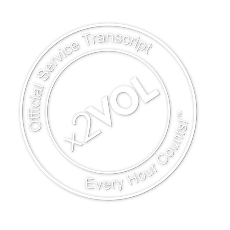 Official Service Transcript seal from x2VOL - emboss