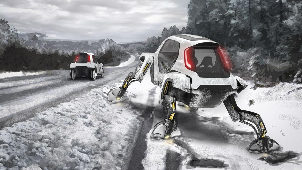 Un Hyundai Elevate sale de una zanja cubierta de nieve.
