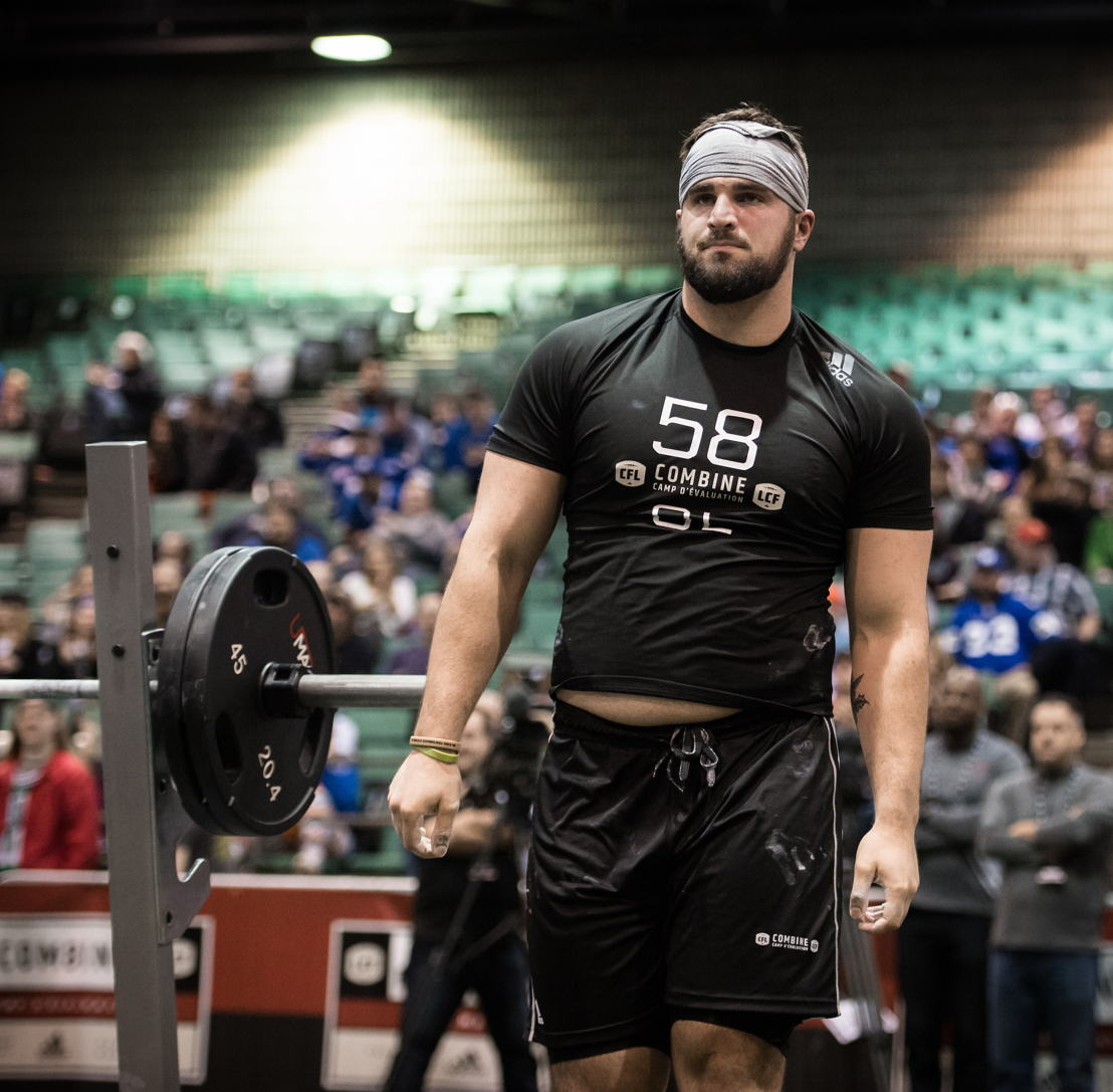 Dakoda Shepley after competing in the Bench Press at the CFL Combine presented by adidas. Photo credit: CFL.ca/Johany Jutras