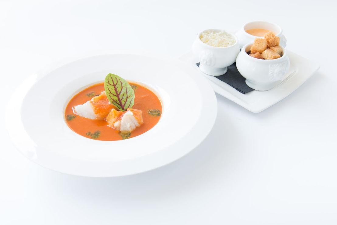 Arno's - Noordzeevissoep met rouille, kaas en broodcroutons (Zeeduivel, leng, kabeljauw)