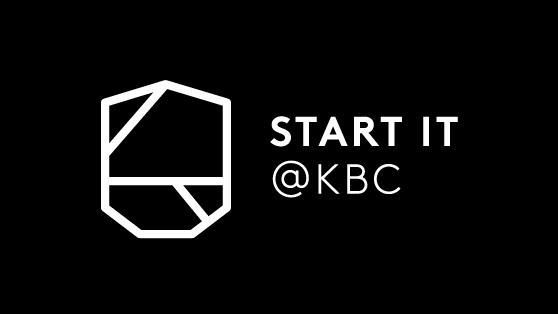 Start it @kbc logo -  White on black background