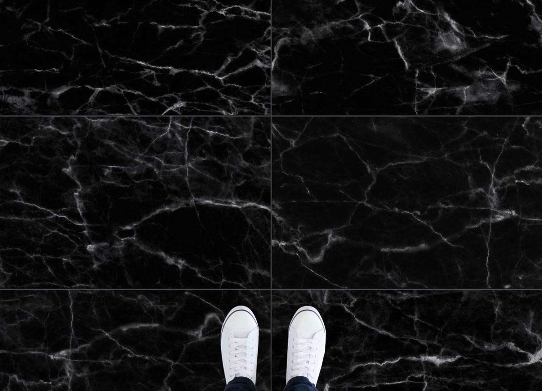 Nero | Black Marble Tile Vinyl Flooring