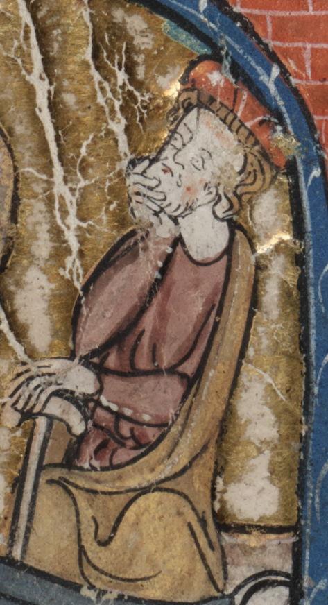 Brussel, Koninklijke Bibliotheek van België, ms. 15001, folio 129v (detail uit een miniatuur)<br/>Voorstelling van de heilige Jozef<br/>@ Koninklijke Bibliotheek van België