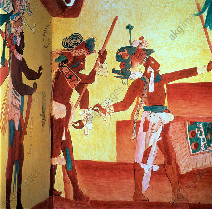 Fresco in the room n. 3 of the Bonampak painting Temple representing a party after a military victory<br/>AKG5834170