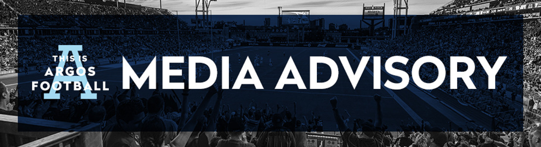 TORONTO ARGONAUTS TRAINING CAMP & MEDIA AVAILABILITY SCHEDULE (JUNE 3)