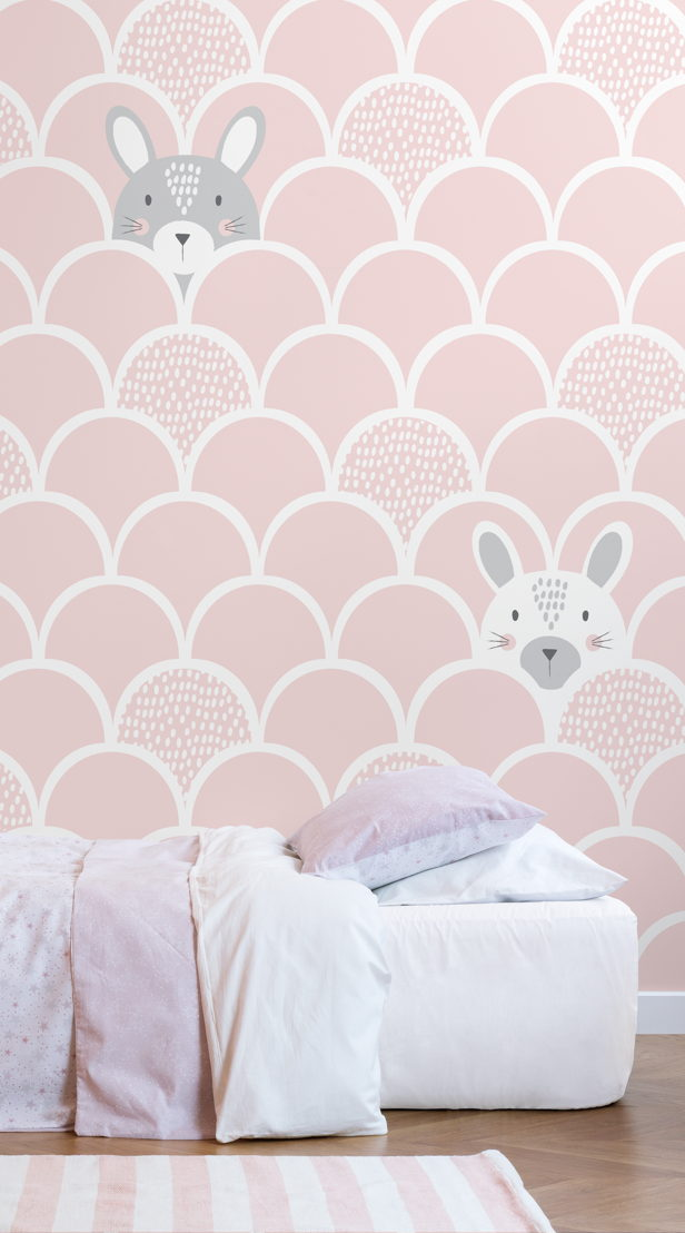 Kids Pink Pop Up Rabbits Wallpaper Mural