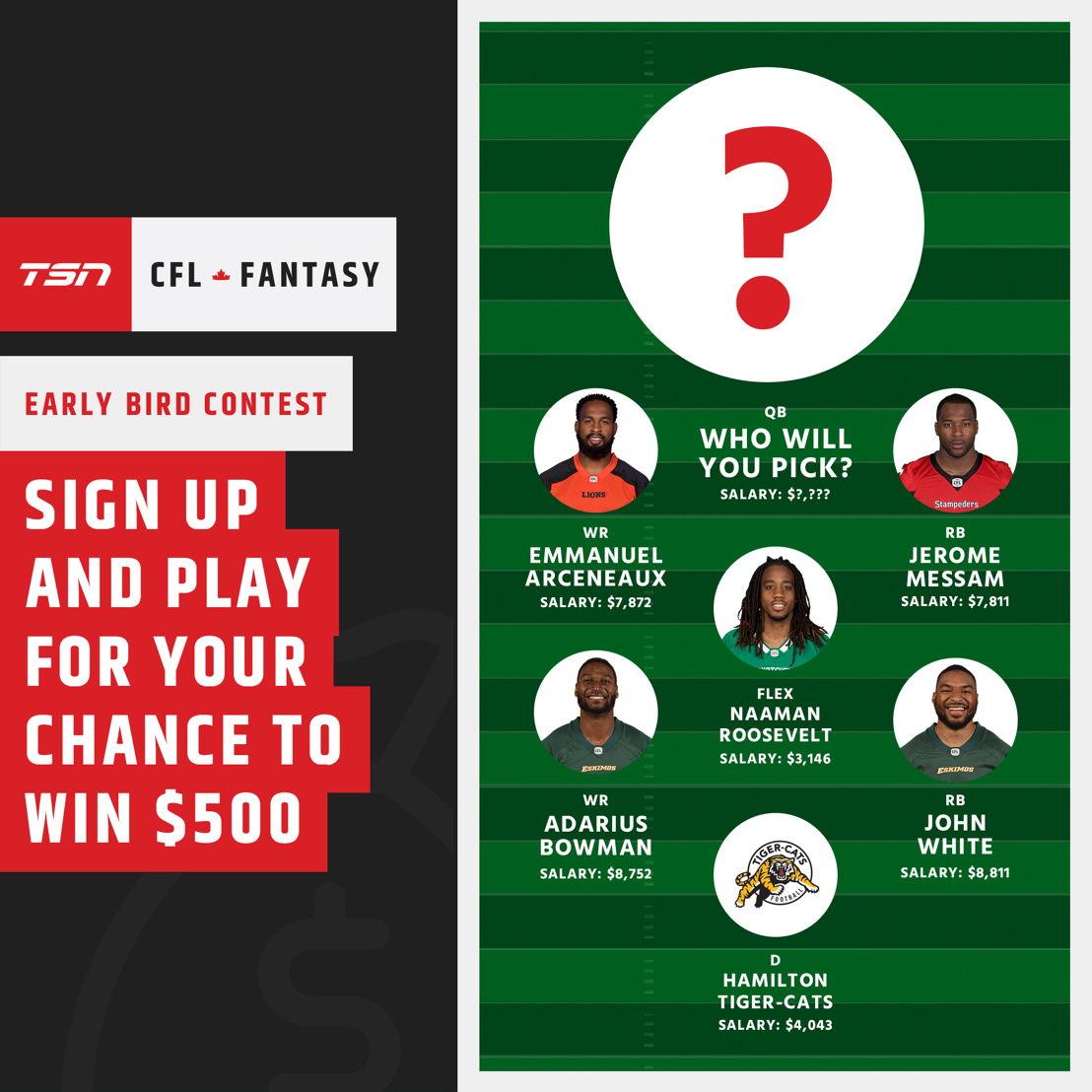 Work within the cap and win big - play now at CFLFantasy.TSN.ca